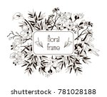 vector floral frame with... | Shutterstock .eps vector #781028188