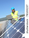 engineer checking photovoltaic...   Shutterstock . vector #78103237