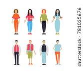 set of standing people vector... | Shutterstock .eps vector #781035676