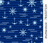 nautical pattern in shades of... | Shutterstock .eps vector #781037224