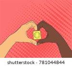 pop art image of hands in the... | Shutterstock .eps vector #781044844