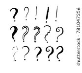 set of grunge ink question and... | Shutterstock .eps vector #781047256