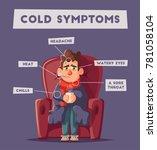 sick man. unhappy character.... | Shutterstock . vector #781058104