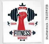 bodybuilding motivation poster. ... | Shutterstock . vector #781059358