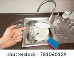 the hand points to the dirty...   Shutterstock . vector #781060129