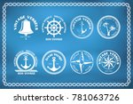 Stock vector set of nautical and marine badges and signs with windrose anchor and steering wheel 781063726