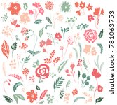 vector set with floral elements....   Shutterstock .eps vector #781063753