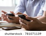 group of  man use phone to...   Shutterstock . vector #781071139