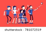 group selfie and young people.... | Shutterstock .eps vector #781072519