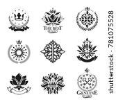 royal symbols  flowers  floral... | Shutterstock . vector #781075528
