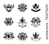 royal symbols  flowers  floral... | Shutterstock . vector #781075654