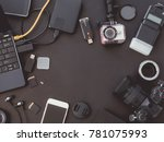 top view work space... | Shutterstock . vector #781075993