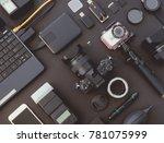 top view of work space... | Shutterstock . vector #781075999