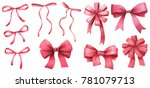 watercolor illustrations. bows. ... | Shutterstock . vector #781079713