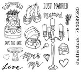 hand drawn wedding collection... | Shutterstock .eps vector #781089580