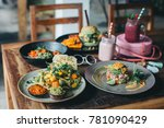 vegetarian dinner with smoothie ... | Shutterstock . vector #781090429