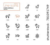 Stock vector farm animals line design icons set 781091749
