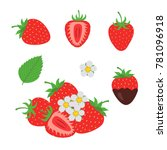 red berry strawberry and a half ... | Shutterstock .eps vector #781096918
