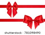 set of birthday red satin bows... | Shutterstock . vector #781098490
