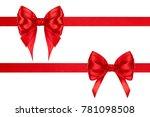 set of celebration red satin...   Shutterstock . vector #781098508