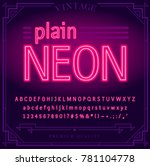 bright neon alphabet letters ... | Shutterstock .eps vector #781104778