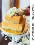 layered square cake with peony... | Shutterstock . vector #781105990