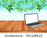 the computer notebook is placed ... | Shutterstock .eps vector #781108624