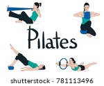 set of woman exercising and... | Shutterstock .eps vector #781113496