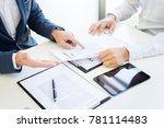 man signing a car insurance...   Shutterstock . vector #781114483