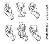 hand holding drink vintage....   Shutterstock .eps vector #781116226