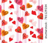 seamless  pattern with hearts... | Shutterstock . vector #781129234