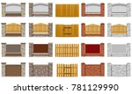 set icons fence made from... | Shutterstock .eps vector #781129990