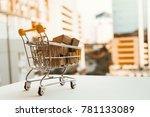 mini shopping cart contain... | Shutterstock . vector #781133089