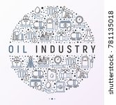 oil industry concept in circle... | Shutterstock .eps vector #781135018