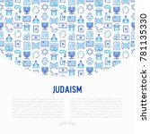 judaism concept with thin line...