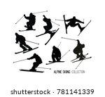 set of black alpine skier s ... | Shutterstock .eps vector #781141339