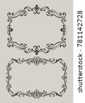 black vintage floral frame on... | Shutterstock .eps vector #781142728