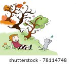 girl with cat | Shutterstock . vector #78114748