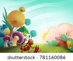 cartoon garden illustration | Shutterstock . vector #781160086