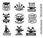 black logos for blacksmith.... | Shutterstock .eps vector #781161829