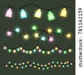 set of christmas color garlands ... | Shutterstock . vector #781162159