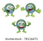 A cute happy fun globe world cartoon character in various poses. - stock vector
