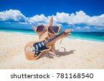 starfish guitar player on sand... | Shutterstock . vector #781168540