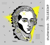creative modern portrait of... | Shutterstock .eps vector #781183369