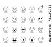 cute set emotion face icon for... | Shutterstock .eps vector #781192753