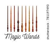 set of wooden magic wands on...   Shutterstock .eps vector #781197493