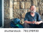 happy and smiling poor homeless ... | Shutterstock . vector #781198930