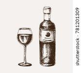wine glass and bottle sketch... | Shutterstock .eps vector #781201309