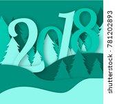 2018 merry christmas greeting...   Shutterstock .eps vector #781202893