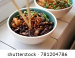 noodles with meat and... | Shutterstock . vector #781204786